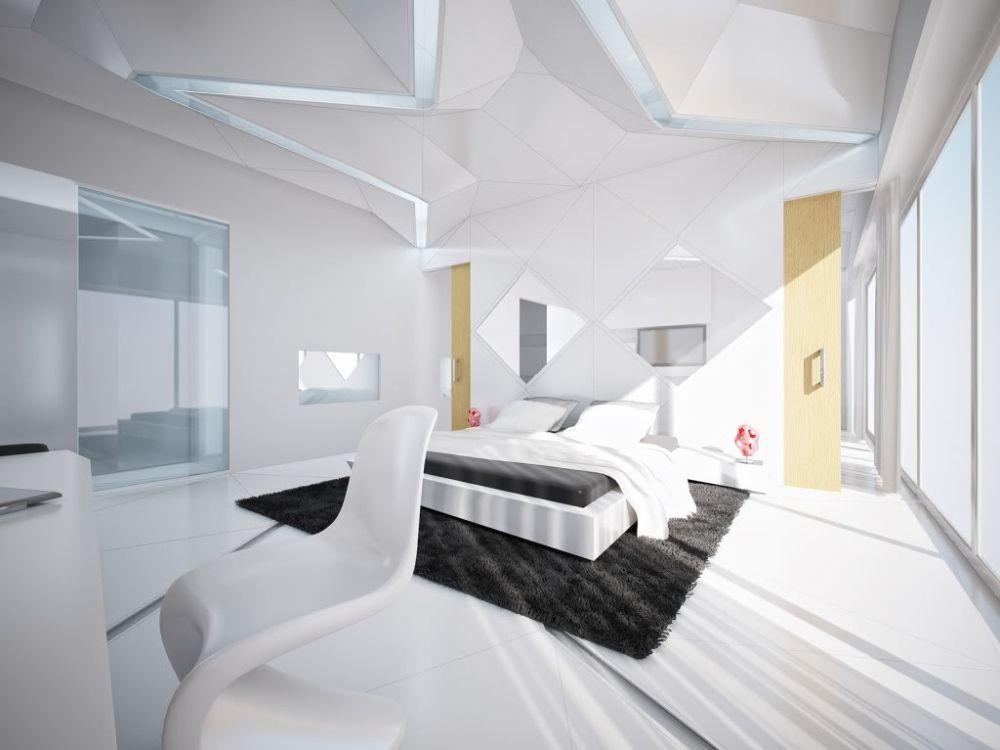 dormitor alb negru